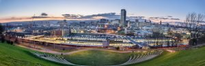 Panoramic view of Sheffield city from the amphitheater.