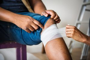 Workplace injury being treated