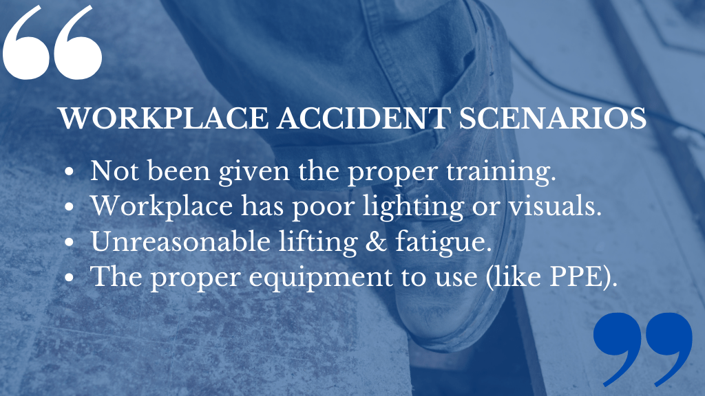 Common Accidents for Compensation Claims including accidents in the workplace.