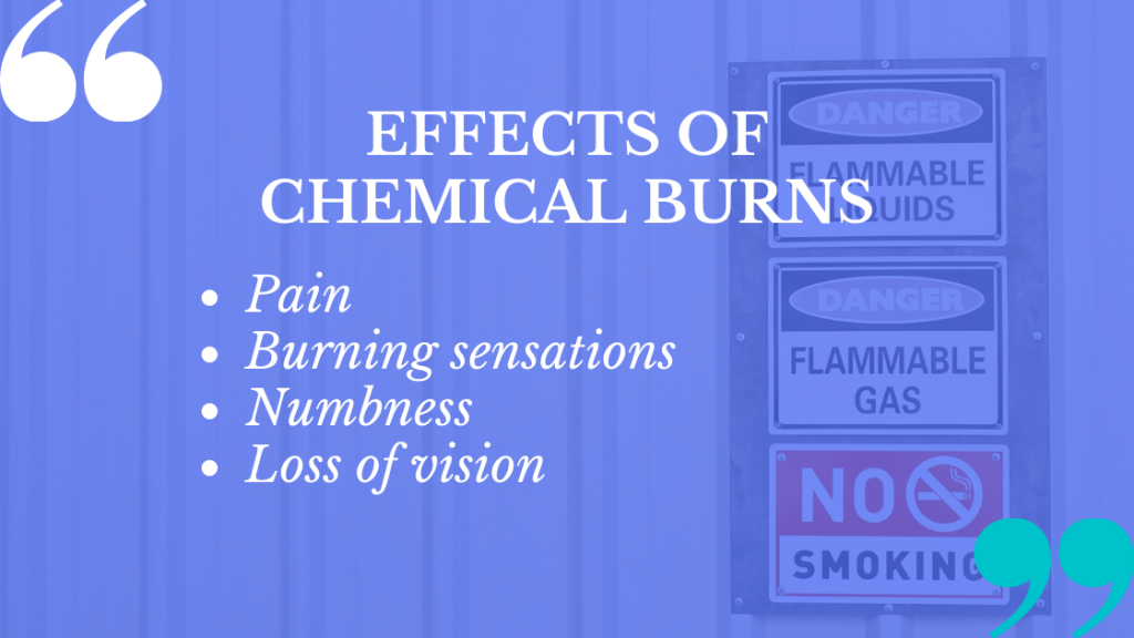 Chemical burns claims from a workplace accident have serious effects on you