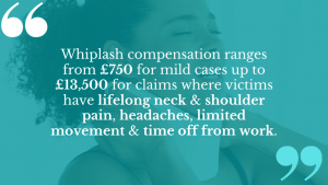 Damages compensation for low speed side impact whiplash can go into five-figures, depending on how your life is affected.