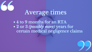 personal injury compensation claim time will vary based on your type of claim